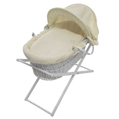 Baroo My Little Stars Cream Waffle Moses Basket in White Wicket