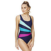 Zoggs Swimshapes Striped Body Shaping Swimsuit - Navy