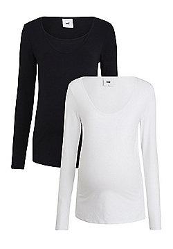 Mamalicious 2 Pack of Double Layer Long Sleeve Nursing T-Shirts - Black & White