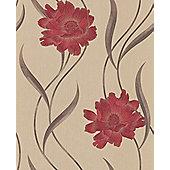 Superfresco Poppy Floral Red/Beige Wallpaper