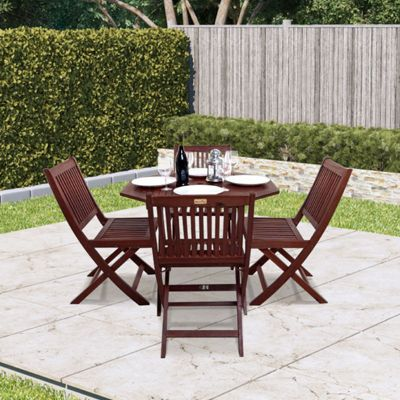 BillyOh Hampton 1.0m Hardwood Eucalyptus 4 Seater Wooden Folding Octagonal Dining Set