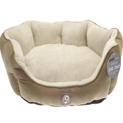 Canterbury Plain Faux Suede Dog Pet Bed - 65x50x20cm - brown