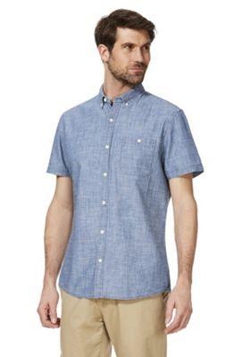 F&F Dobby Denim Look Short Sleeve Shirt Light Wash L