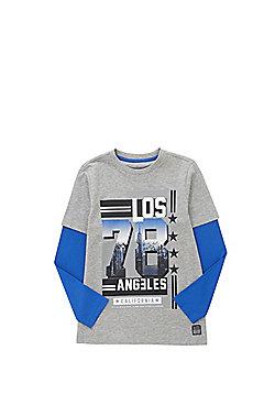 F&F Los Angeles Slogan Mock Layer Long Sleeve T-Shirt - Grey