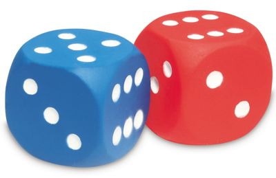 Learning Resources Foam Dot Dice (Red & Blue)