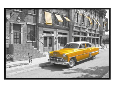 New York Gloss Black Framed Yellow Cab in Manhattan Poster