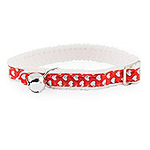 Ancol Acticat Reflective Gloss Hearts Cat Collar - Red