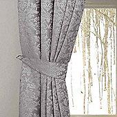 Homescapes Grey Velvet Jacquard Curtains Tie Backs Pair