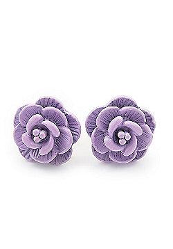 Tiny Lavender 'Rose' Stud Earrings In Silver Tone Metal - 10mm Diameter
