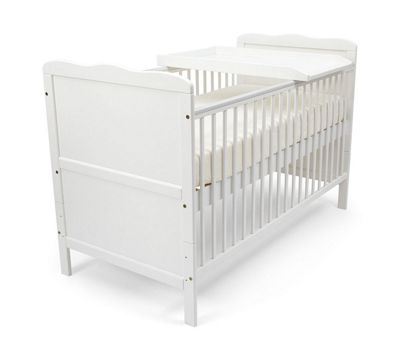 Isabella Cot Bed/Todler Bed & Deluxe Sprung Mattress & Changer - White