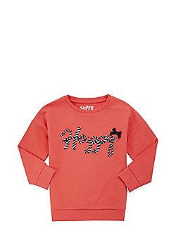 F&F 3D Happy Slogan Sweatshirt - Red