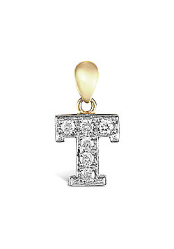 9ct Yellow Gold Cubic Zirconia Initial Charm Identity Pendant - Letter T