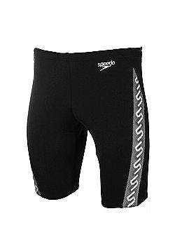 Speedo Monogram Mens Swimming Jammer Short - Black / White - Black