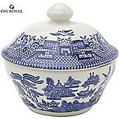 Churchill China Blue Willow Georgian Covered Sugar Bowl WBMBCSG