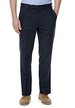 F&F Linen-Blend Regular Fit Suit Trousers - Indigo