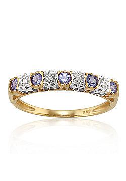 Gemondo 9ct Yellow Gold 0.23ct Tanzanite & 2pt Diamond Half Eternity Band Ring