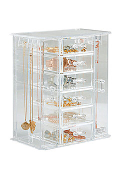 Beautify Jewellery Organiser & Makeup Storage Box with 6 Drawers - Clear
