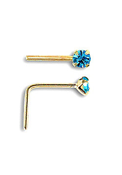 Jewelco London 9ct Yellow Gold Light Blue CZ claw-set Nose Stud
