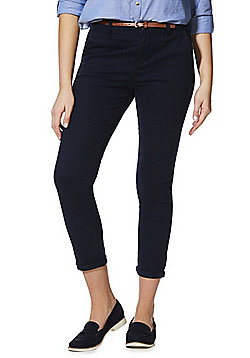 F&F Belted Cropped Chinos - Navy