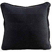 Homescapes Cotton Rajput Ribbed Black Cushion, 60 x 60 cm