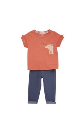 F&F Giraffe Pocket T-Shirt and Leggings Set Red/Navy 0-1 months