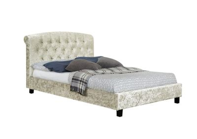 Comfy Living 5ft King Size Luxury Crushed Velvet Bed Frame with Buttoned Headboard in Cream with Damask Sprung Mattress