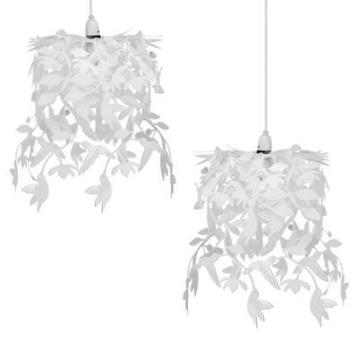 Pair of Hummingbird Ceiling Pendant Light Shades, White