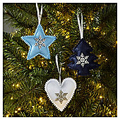 Blue and White Felt Christmas Tree Decorations, 9 pack