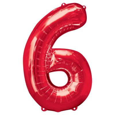 Red Number 6 Balloon - 34 inch Foil