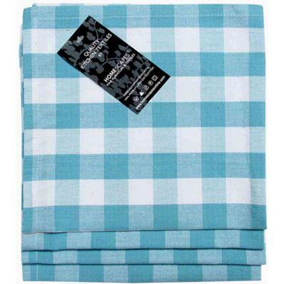 Homescapes Blue Block Check Cotton Fabric 4 Napkins Set