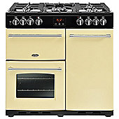 Belling FARM90DFTCR 900mm Dual Fuel Range Cooker, 5 Burners Inc. WOK, Cream