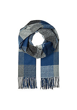 F&F Checked Tassel Trim Scarf - Navy