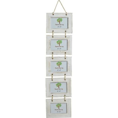 Nicola Spring 5 Photo White Wooden Hanging Picture Frame - 6 x 4