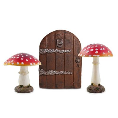 Fairy Garden Ornament Set with Large Fairy Door & 2 Large Red Toadstool Mushrooms