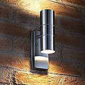 Auraglow Dusk Till Dawn Sensor Stainless Steel Up & Down Outdoor Wall Security Light - Warm White