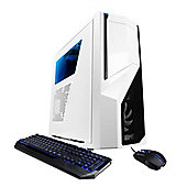 Cyberpower Gaming White Knight GT Desktop, Intel i7 6700 Quad-core Processor (3.4GHz), 16GB, 1TB HDD + 240GB SSD - White/Blue