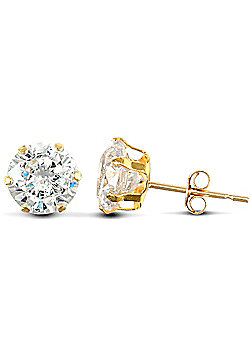 Jewelco London 9ct Yellow Gold studs claw-set with 6mm Solitaire CZ stone
