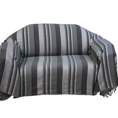 Homescapes Cotton Morocco Striped Grey Throw, 225 x 255 cm