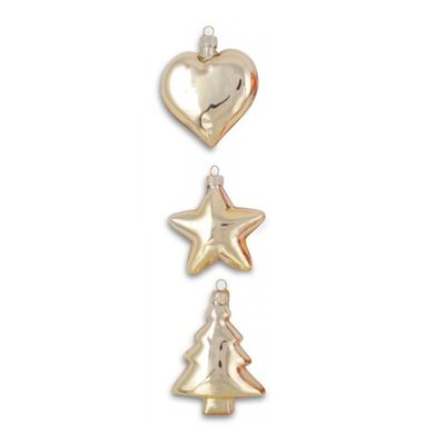 Set of Three Gold Glass Christmas Tree Bauble Decorations