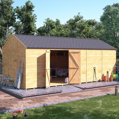 20x10 Tongue and Groove Wooden Workshop Garden Shed Double Door Windowless Reverse Apex Premium Roof Floor Felt 20ftx10