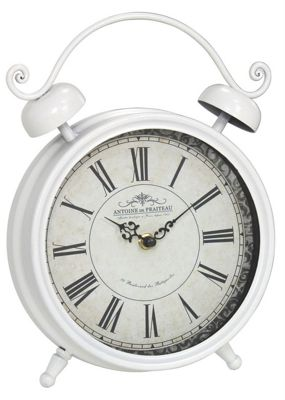 Ivory Classic Table Clock Metal Roman Numerals Vintage Style