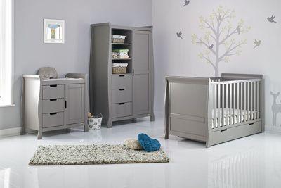 Obaby Stamford Cot Bed 3 Piece Nursery Room Set Taupe Grey