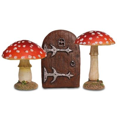 Fairy Garden Ornament Set with 2 Red Toadstool Mushrooms & Small Fairy Door
