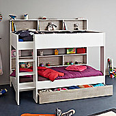 Happy Beds Tam Tam Wood Kids Bunk Bed with Underbed Storage Drawer and 2 Orthopaedic Mattresses - White and Grey - EU Single