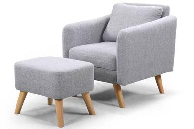 Longdon Grey Fabric Armchair/Footstool