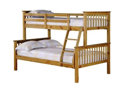 Home Zone Otto Trio Bunk Bed - Antique Waxed Pine