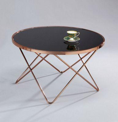 Porto Glass Round Coffee Table-Cooper/Black