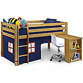 Happy Beds Wendy Blue Fabric Tent Solid Pine Wooden Kids Mid Sleeper Sleep Station Desk Storage Bed Memory Foam Mattress 3ft Single