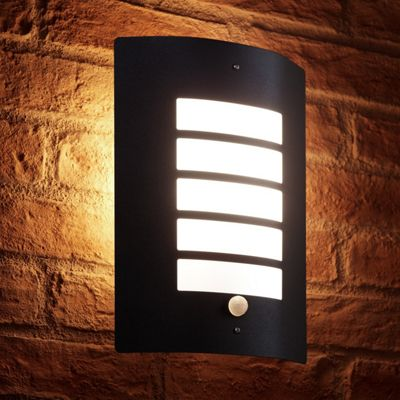 Auraglow Stainless Steel Energy Saving Motion Activated PIR Sensor Outdoor Security Wall Light - Black Matte Finish - Warm White