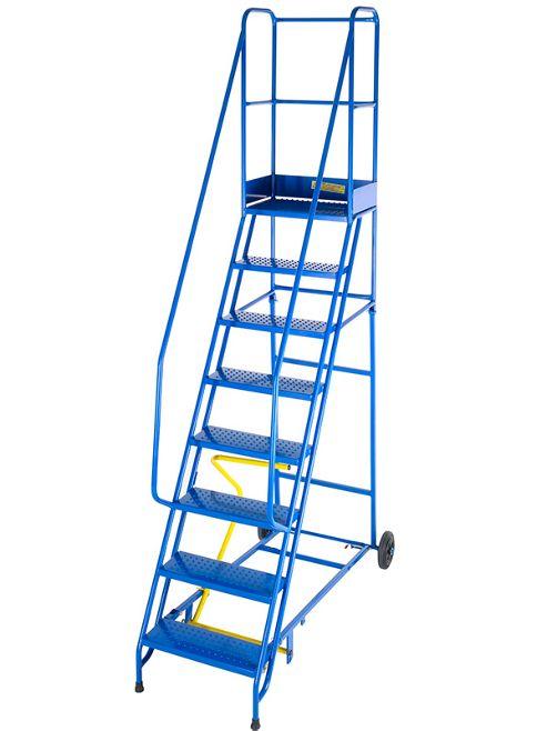 Medium Duty 9 Tread Steel Warehouse Mobile Step (Punched Tread)